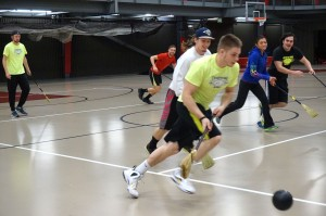 Students running on the court during one of the games!