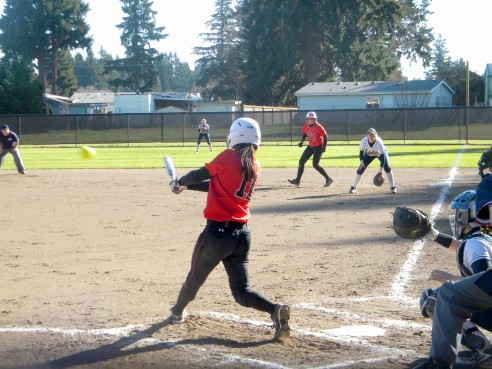 Taviah Jenkins hits the ball getting on base
