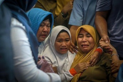 relatives of victims at Pangkal Pinang airport