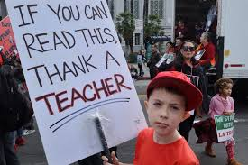 Sign at the Teacher's Protest in Los Angeles (1)
